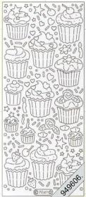 Stickers Flitter/Tr.Cupcake klein silber - silber