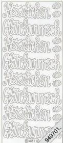 Stickers Flitter/Tr.Herzl.Glückwunsch silber - silber