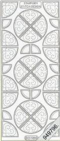 Stickers Flitter/Tr.Viertel-Kreis silber - silber