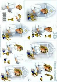 3D Bogen Betende Jungen+Mädchen - Format A4