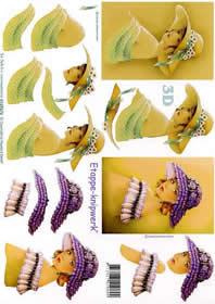 3D Bogen Dame mit Hut gr?n+violett - Format A4