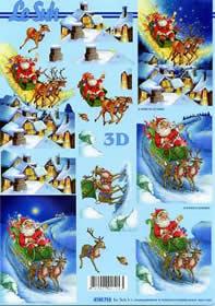 3D sheet Weihnachtsmann mit Schlitten - Format A4