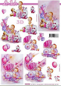 Feuille 3D Babys - Mädchen - Format A4