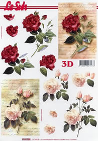 Feuille 3D Rosen auf Brief - Format A4