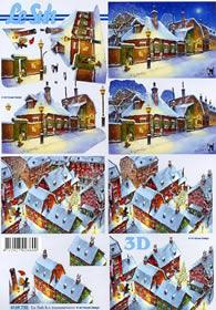 3D sheet Stadt im Schnee 1 - Format A4