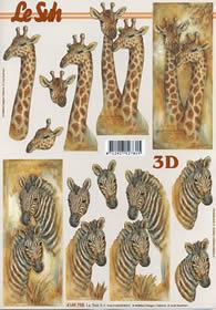 3D sheet Giraffe und Zebra - Format A4
