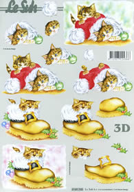 3D sheet Katze in Weihnachtsm?tze - Format A4