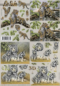 3D sheet Leopard + Tiger - Format A4