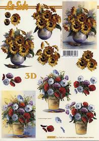 3D Bogen Blumen im Topf - Format A4