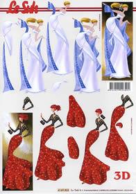 3D Bogen Dame - blau+rot - Format A4