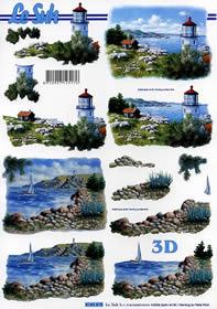 Hojas de 3D Meeresblick - Leuchtturm - Formato A4
