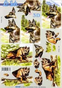 3D sheet Schäferhund - Format A4
