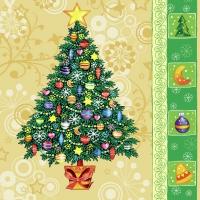 Lunch Servietten Christmas tree yellow