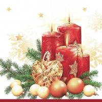 Servietten 33x33 cm - Rote Kerzen - weiß