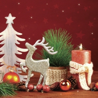Serviettes de table 33x33 cm - Décorations de Noël faites à la main