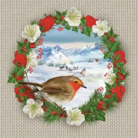 Lunch Servietten Bullfinch Bird on Wreath