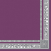 Napkins 33x33 cm - silber Borte auf Lila