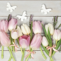 Serviettes lunch white and pink tulips on wood