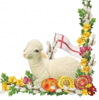 Lunch napkins Easter lamb of white