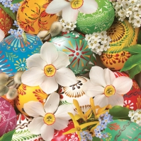 Lunch napkins Blumen+bunte Ostereier
