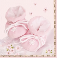 Serviettes lunch Baby rose
