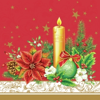 Napkins 33x33 cm - Classic Christmas -red