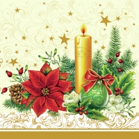 Serviettes lunch xmas candle cream