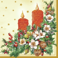 Serviettes lunch Two xmas candle cream