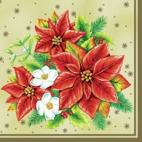 Serviettes lunch Poinsettia cream