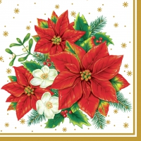 Serviettes lunch Poinsettia white