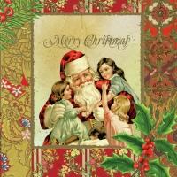 Lunch Servietten Weihnachtsmann mit Engel