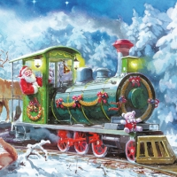 Lunch napkins Santa with train