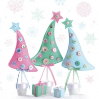 Servetten 33x33 cm - Pastel Stof Kerstboom