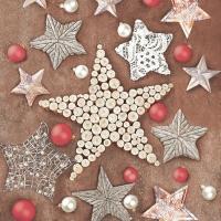 Servietten 33x33 cm - Weihnachtsgefertigte Sterne