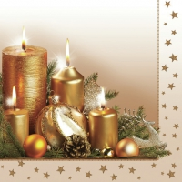 Napkins 33x33 cm - Gold Christmas Candle