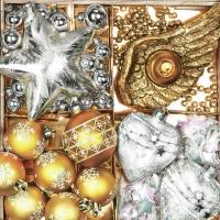 Serviettes de table 33x33 cm - Boules en or et blanc