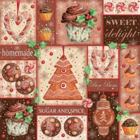 Napkins 33x33 cm - Sugar and spice Gingerbread Collage
