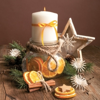 Napkins 33x33 cm - Candle in Jar Full of Orange Silces