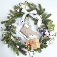 Napkins 33x33 cm - Christmas Wreath with ice Skates
