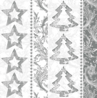 Napkins 33x33 cm - Silver Graphic Stars and Trees
