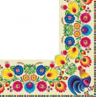 Servilletas Lunch pattern border cream/white