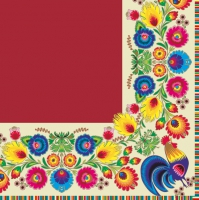 Lunch napkins pattern border cream/red