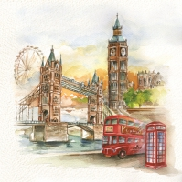 Lunch Servietten London in Watercolour