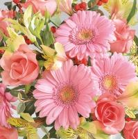 Lunch Servietten Gerberas &pink Roses