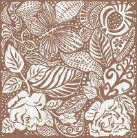 Serviettes de table 33x33 cm - Monocrom Garden - marron