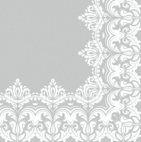 Lunch Servietten Ornament Border Grey