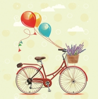 Servilletas Lunch Bicycle with Balloons