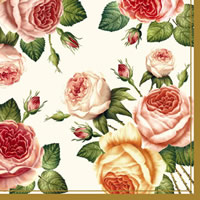 Serviettes lunch nostalgia rosa roses gold