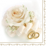 Serviettes lunch Wedding Roses white