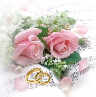 Serviettes lunch Wedding Roses pink